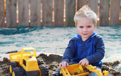 Construction play in sandpit