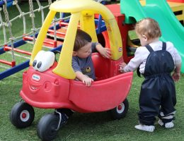 Toddlers playing with car together